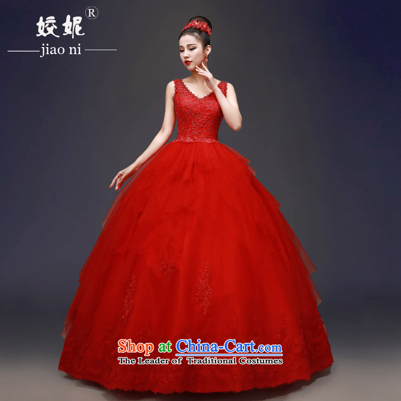 Each original red align Connie to wedding Korean shoulders red Wedding?2015 new spring and summer V-Neck graphics to align the thin minimalist bon bon skirt hunsh red tailored does not allow for seven days of