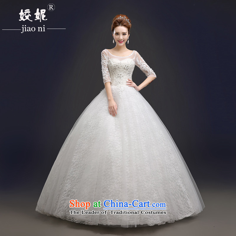 Every bride her wedding dresses?2015 Spring New Word shoulder lace manually set the Pearl River Delta in the retro large cuff to align graphics thin, lady Mrs Korea Sau San edition white white?S
