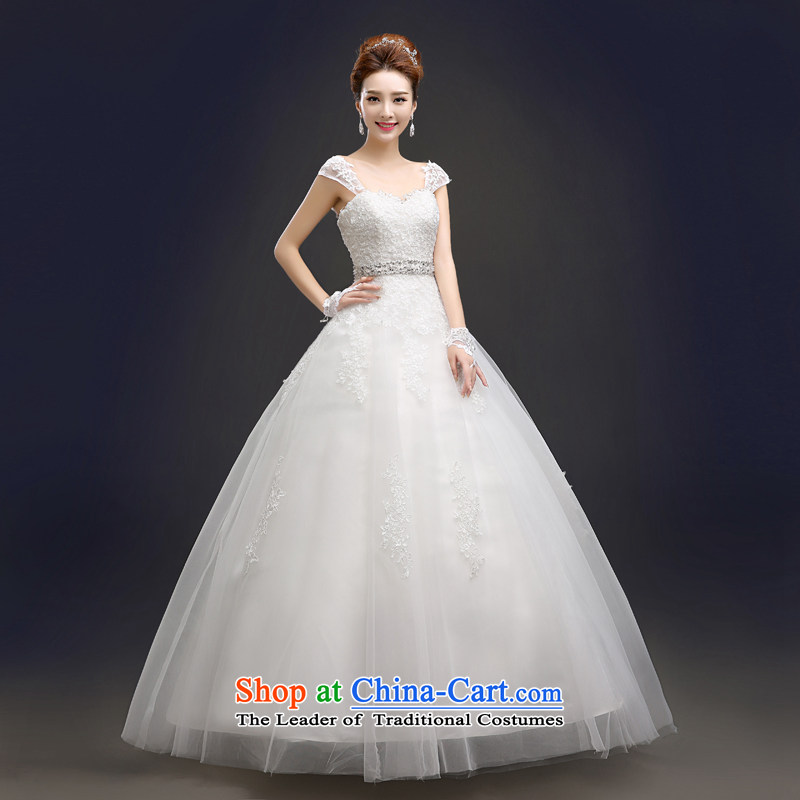 Foutune of Europe and a swing new wedding dresses 2015 Summer New Asian layout to align the shoulder bride Word Graphics thin shoulders wedding white lace after setting the Pearl River Delta and stylish white?L