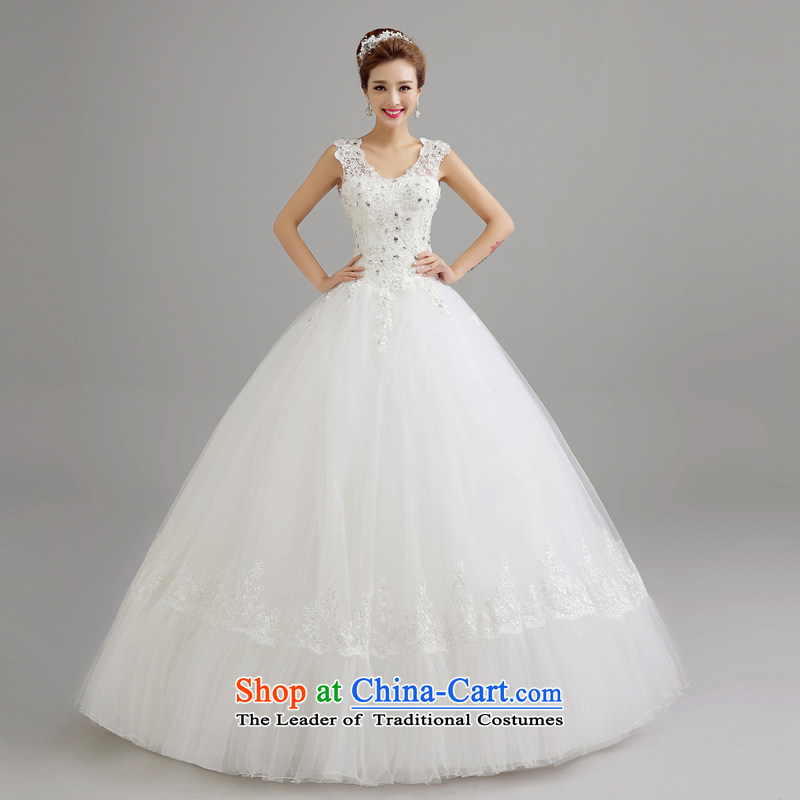 Wedding dresses new bride Summer 2015 Korean sexy shoulders to align the wedding is Korean shoulders to align the large number of Sau San white marriages wedding White?XL