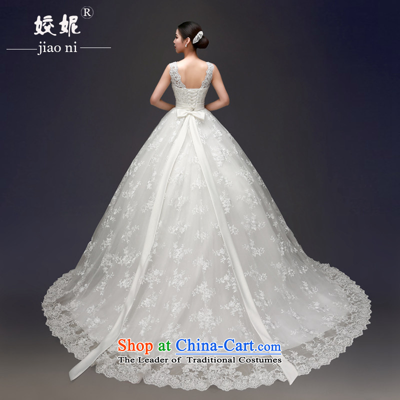 Each Connie Korean shoulders to align the red wedding dresses in?spring and summer 2015 Korean lace Sau San tail bride bon bon white streak wedding female white streak?M