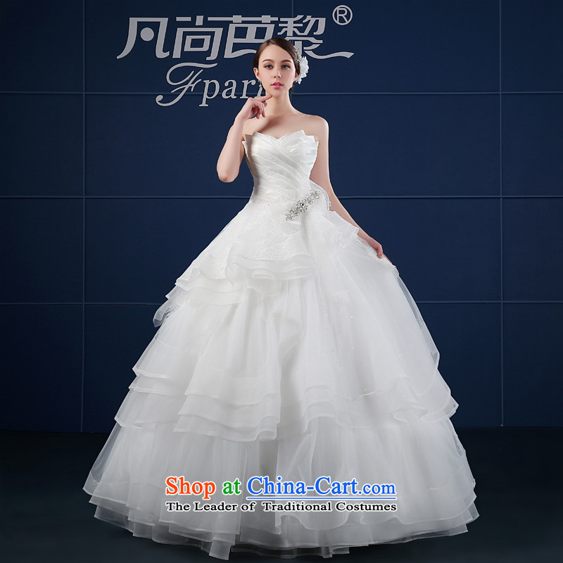 Wedding dress 2015 new spring and summer Korean large Sau San custom minimalist wiping the chest of the funds from the bride wedding summer White?M
