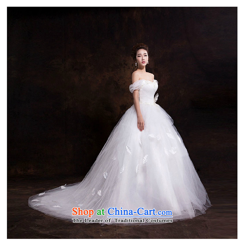 The first white wedding dresses into about the new Word 2015 luxury shoulder to align the trailing princess shoulders wedding upscale luxury tail_ XL