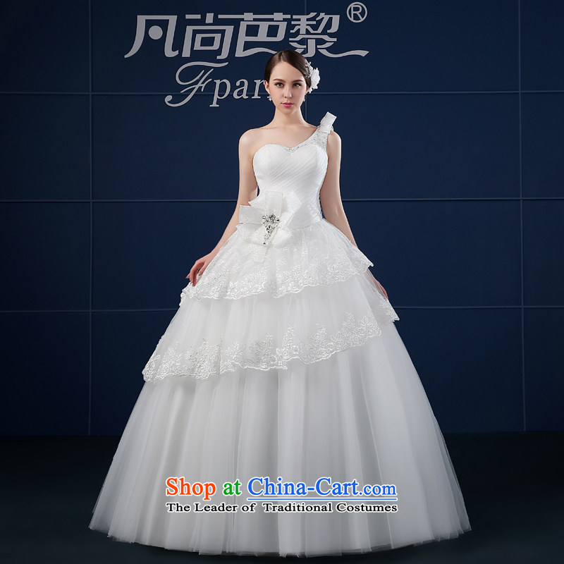 Where does the Paris wedding dresses 2015 new spring and summer Korean large minimalist Sau San bride shoulder wedding summer White?XXL