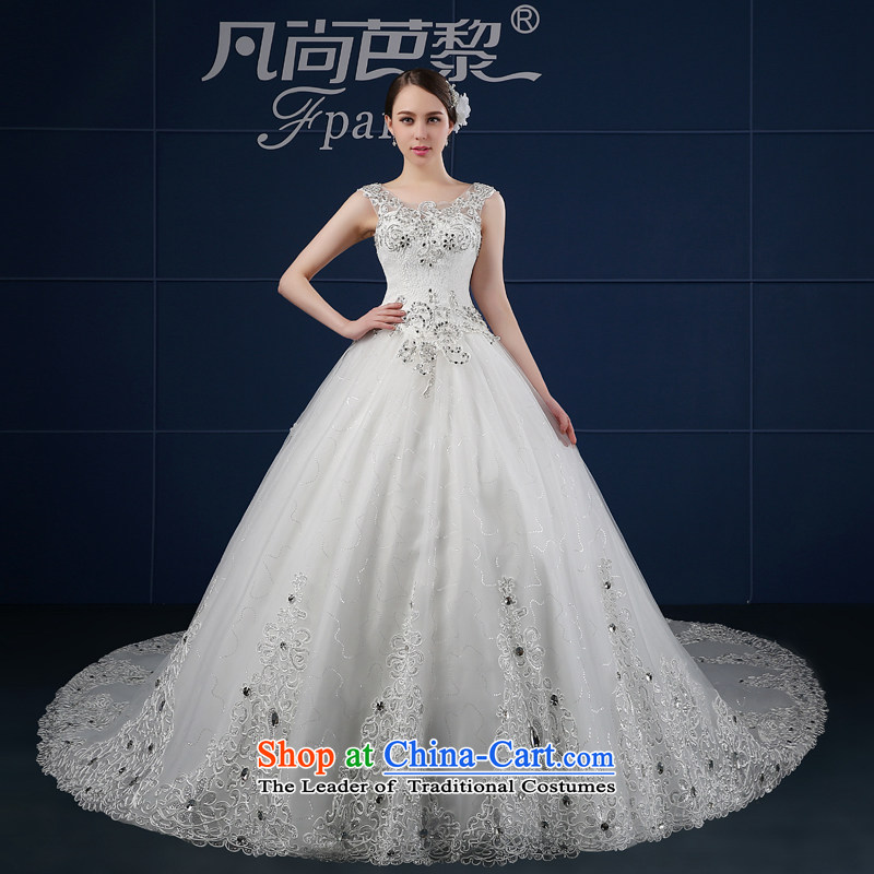 Wedding dress 2015 new spring and summer drilling large Korean Beauty Package shoulders a field shoulder wedding summer bride trailing white?L