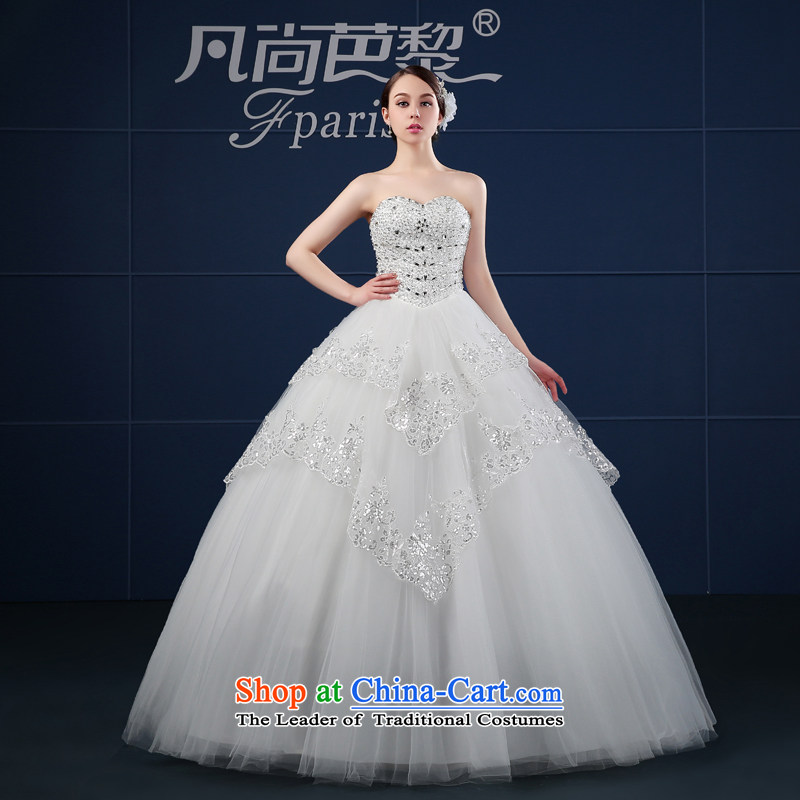 Wedding dress 2015 new spring and summer Korean large drill Sau San chest anointed thin video of the funds from the bride wedding summer White M