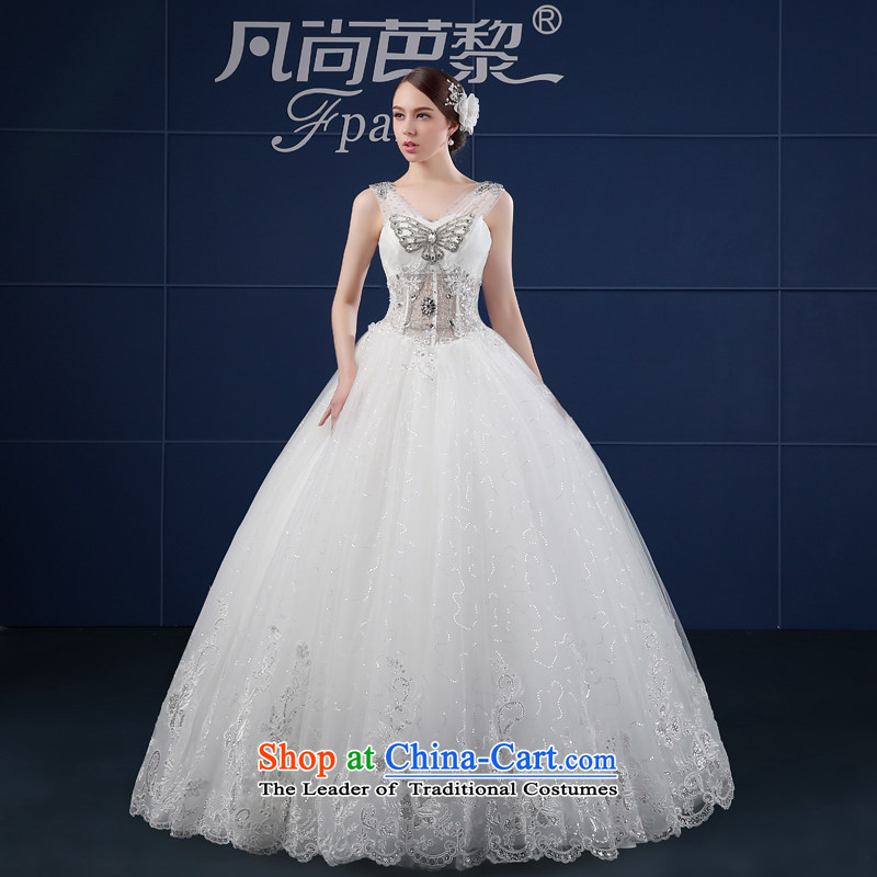 The shoulders, wedding dresses in spring and summer 2015 new Korean version of large code simple customization to align the Sau San bride wedding summer White XL
