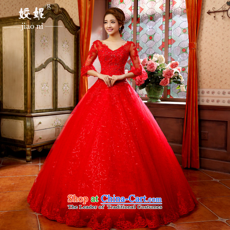 Connie. red sleeved every wedding dresses 2015 spring/summer to align the new Large Fat MM bon bon skirt pregnant women to align the bride hunsha white yarn red�XL