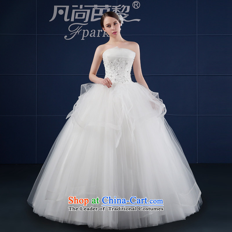 Wedding dress in spring and summer 2015 new Korean version of large numbers of Sau San Sau San video thin lace back bride wedding summer White?M