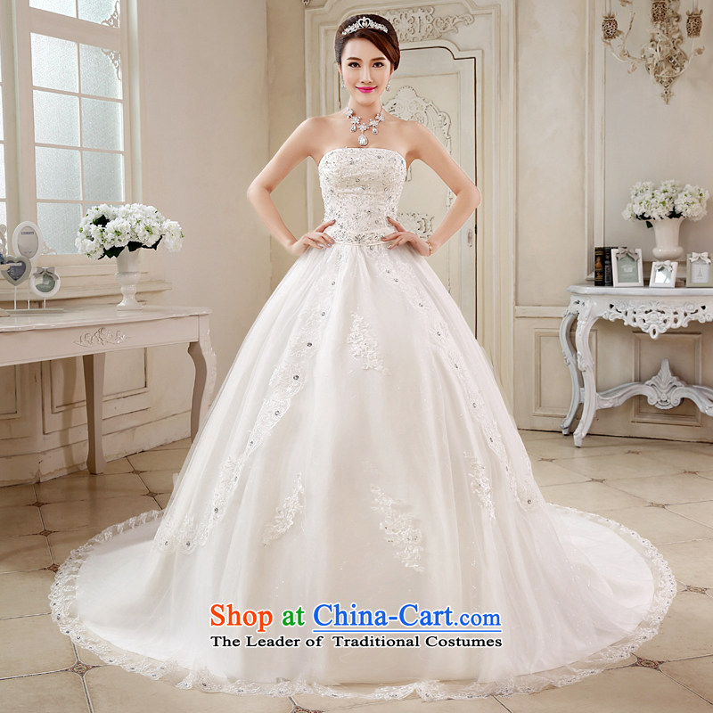 The bride wedding dresses tail) New 2015 Korean style spring wiping the chest code graphics thin lace manually set the drill� JNHS0013�white streak�S