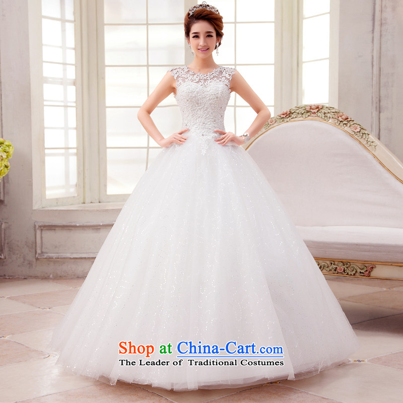 Align the white with every Connie wedding dresses? 2015 new stylish spring and summer round-neck collar package shoulder Korean brides-shoulder type sleeveless large white out of white?M