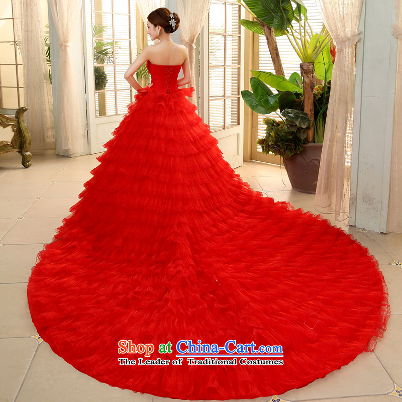 Larger anointed chest red wedding dresses 2015 summer to align the Korean style deluxe tail bride bon bon skirt   JNHS0015 red tail XL