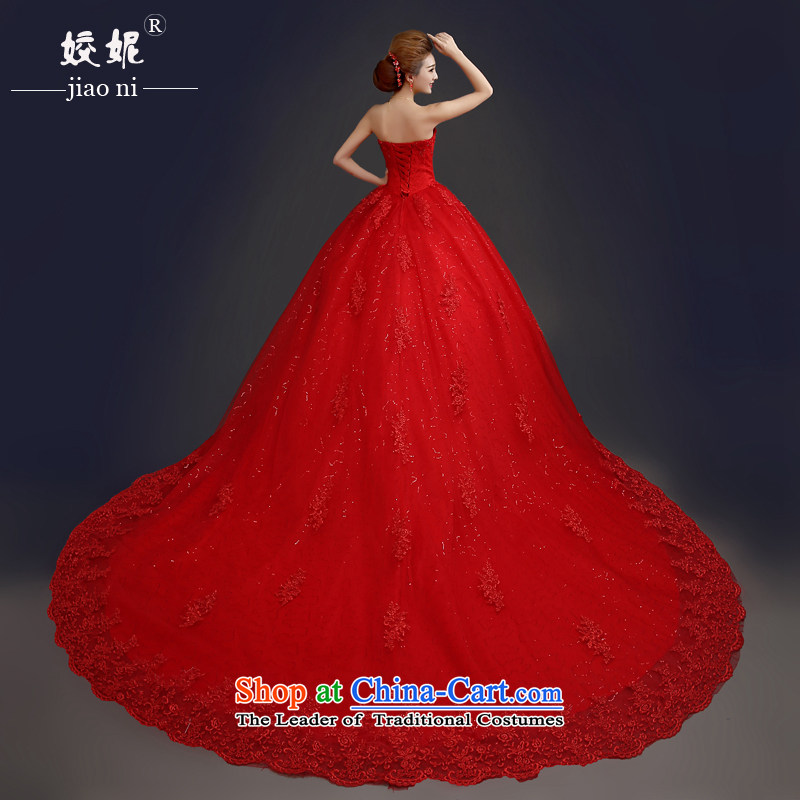 Each large original Connie anointed chest red wedding dresses 2015 spring/summer to align the Korean-style deluxe tail bride bon bon skirt video thin female minimalist bride red wedding RED M V tail�XL
