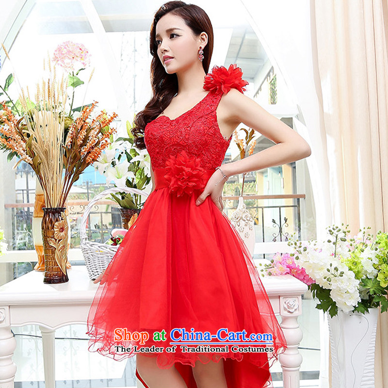 Uyuk?C.O.D. 2015 new stylish wedding services women shoulder a drink lace gauze bon bon long tail skirt dress dresses red?XL