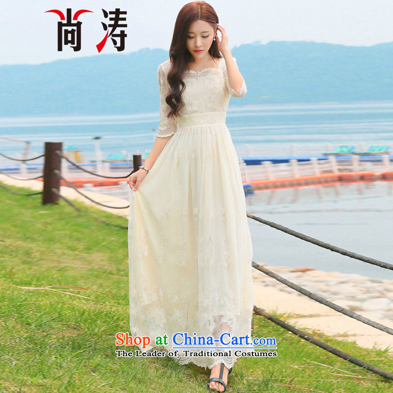 2015 summer is the new flower embroidery lace dresses temperament and stylish dresses short-sleeved fairies skirt long skirt C0017 dress m apricot�M
