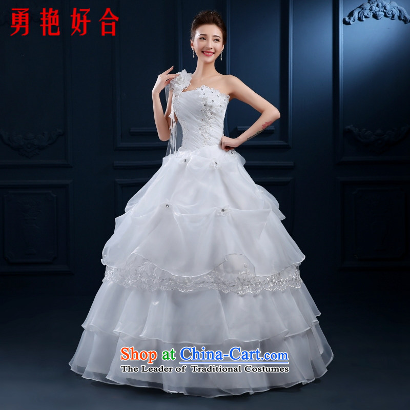 2015 new stylish wedding dresses Korean style to align the shoulder larger Fat MM video thin wedding spring and summer classic style white?M