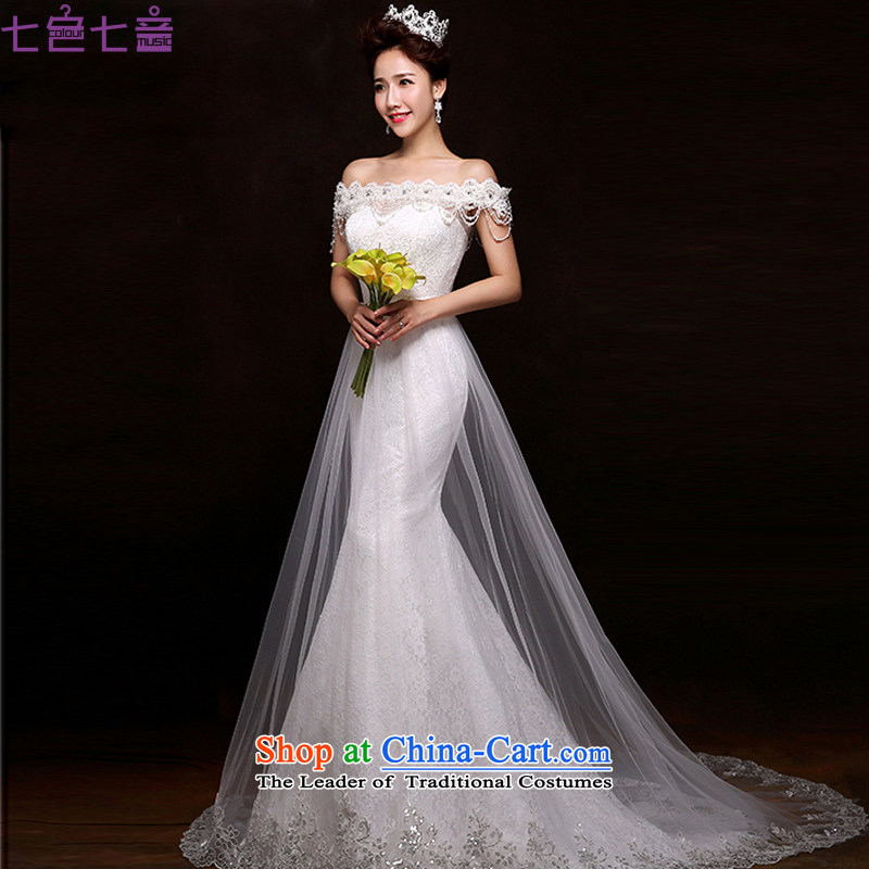 7 Color 7 tone Korean Word 2015 new shoulder for wiping the chest tail lace align to Sau San crowsfoot code wedding dresses?H072?white?S