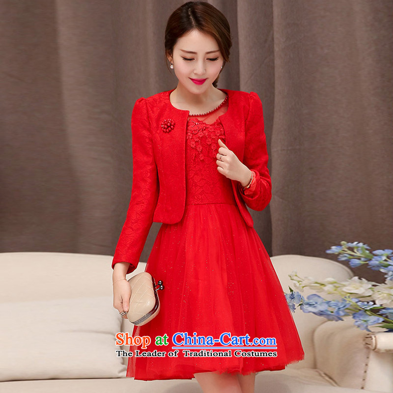 Uyuk  wedding dresses bridesmaid dress 2015 New Red Dress lace short of marriages bows serving two kits RED M