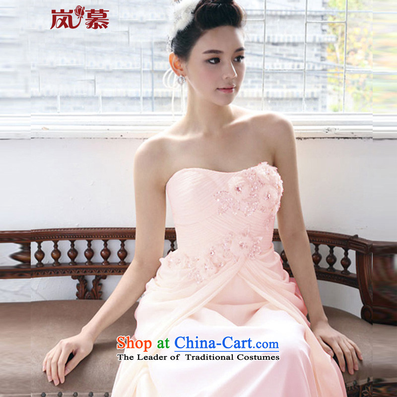 ?In the new LAURELMARY Korean bridal dresses new wedding dresses, wipe the chest little flowers nail pearl dress banquet at night pink?L(b=90/w=74) Clothing