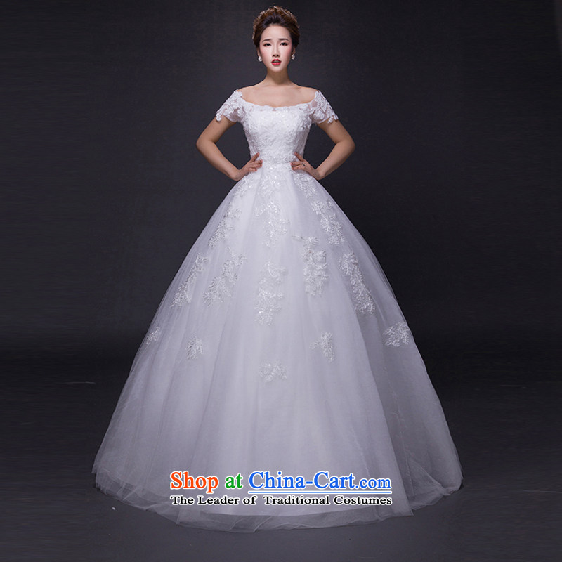 Hei Kaki wedding dresses聽2015 new autumn and winter noble trendy first field shoulder lace bon bon petticoats align to bind with wedding JX15 ivory聽XS