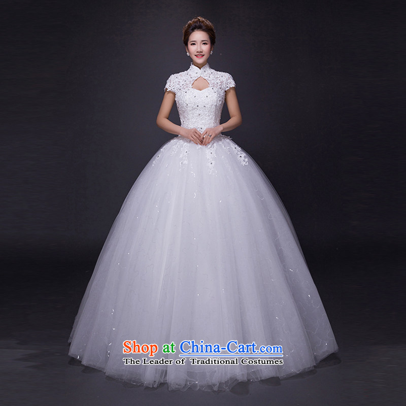 Hei Kaki wedding dresses 2015 new autumn and winter noble retro collar lace bon bon petticoats align to bind with wedding JX18 ivory M