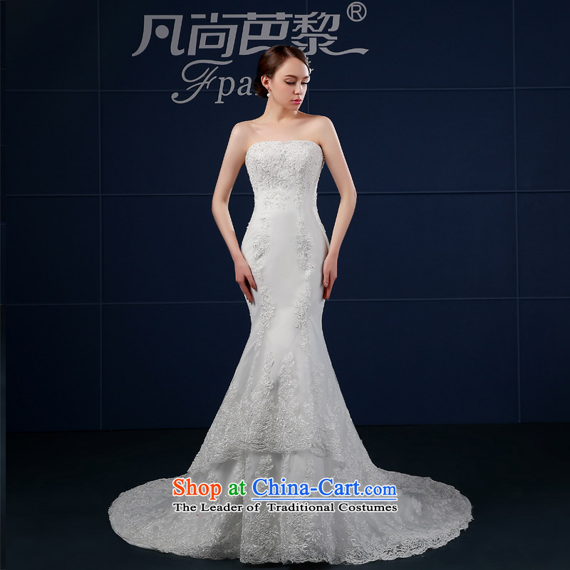 The bride wedding dresses new 2015 Summer anointed chest Korean style large crowsfoot wedding summer bride tail simple graphics thin white?M _