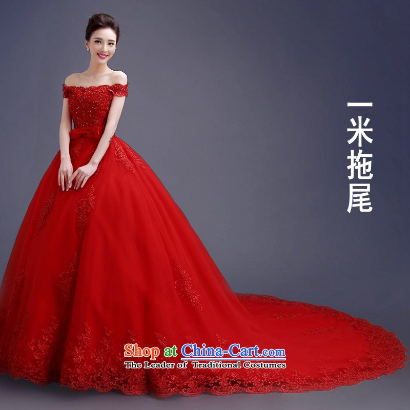 Each original Connie Red Tail Wedding 2015 Spring/Summer new Korean word shoulder straps for Sau San video to align the bride thin wedding tail lace long tail red tail tailored does not allow for seven days of