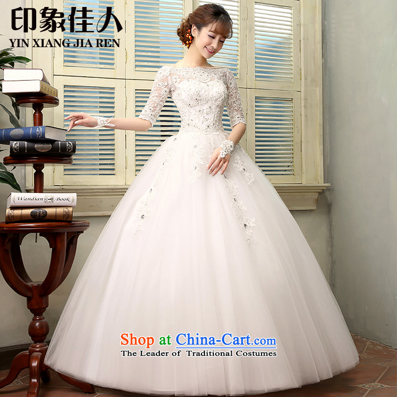 Starring impression wedding dresses 2015 autumn and winter new Korean shoulders to align graphics thin a bride custom fields in shoulder cuff wedding H1806 S