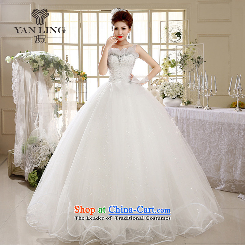 2015 new wedding a field to align the shoulder princess bon bon skirt marriages white wedding HS1006 white?L