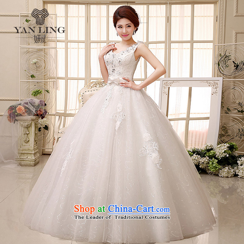 2015 to a high standard and style water-soluble lace booking drill and sexy shoulders V-Neck bride wedding dresses HS527 White�M