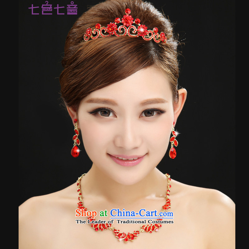 7 7 color tone bride Head Ornaments kits wedding accessories red water drilling wedding dress clothing accessories for toasting champagne SP001 crown + necklace + ear fall arrest are code