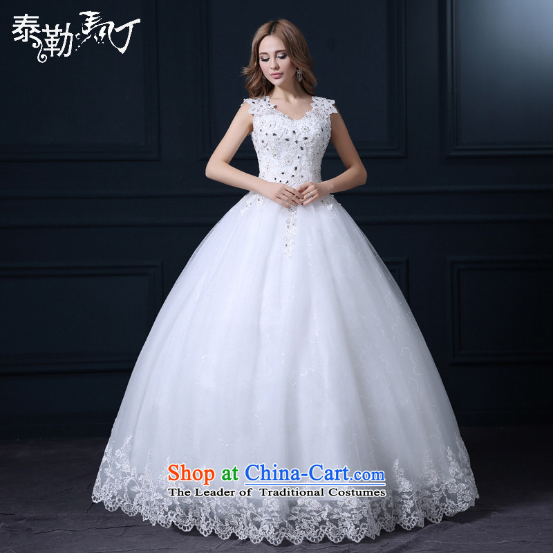 Taylor Martin 2015 wedding Korean bridal fashion the spring and summer to align the large white marriage wedding shoulders wedding bon bon skirt white _buy gift of three kit_ M