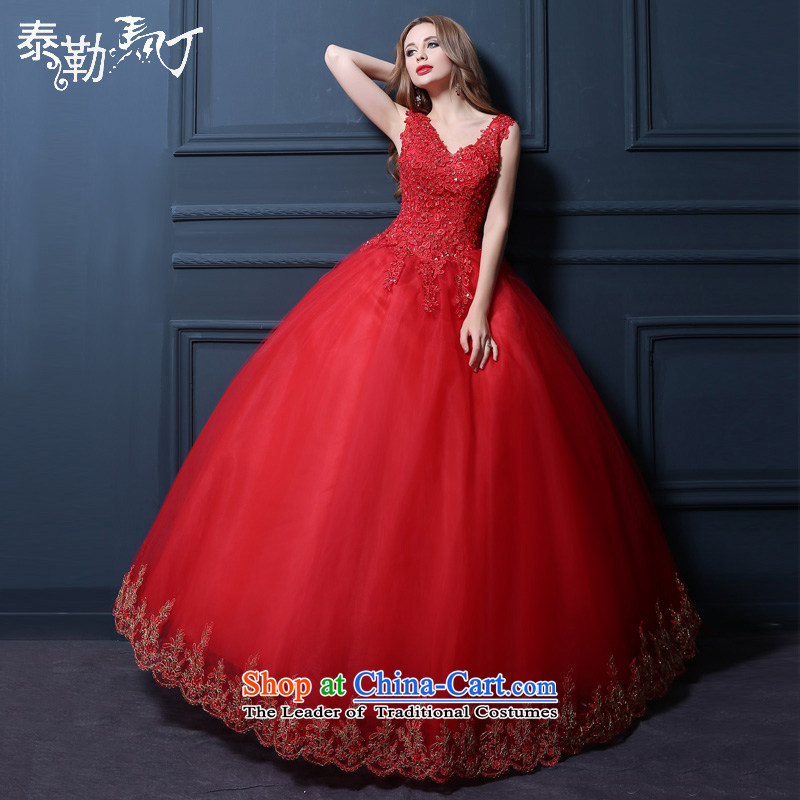 Taylor Martin 2015 Red Wedding Korean modern large bride lace alignment marry wedding shoulders wedding bon bon skirt red (buy gift of three kit) L
