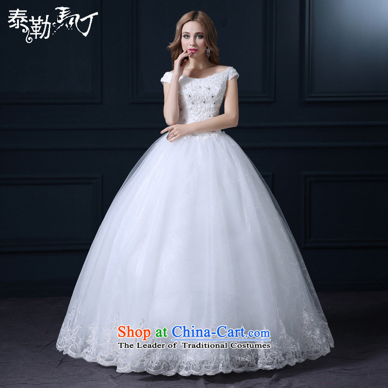 The Word 2015, Martin Taylor shoulder wedding spring and summer large Korean lace fashion to align the Sau San bride wedding dress bon bon white _buy gift of three kit_ L