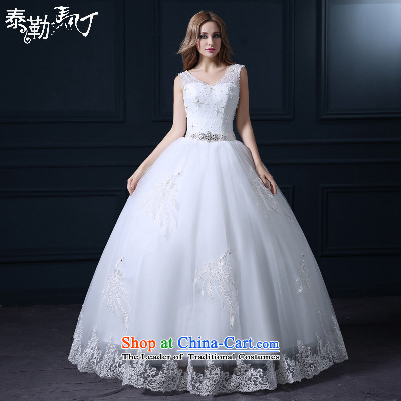 Taylor Martin 2015 shoulders wedding spring and summer new Korean large stylish lace married to align the large graphics thin bride wedding white _buy gift of three kit_ L
