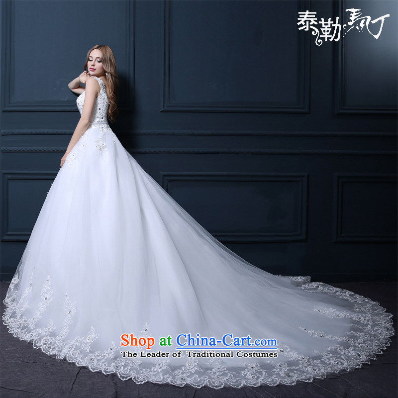 Taylor Martin 2015 tail wedding spring and summer, Japan and the rok wedding bride wedding dress stylish large lace shoulders a bride high-end field shoulder tail wedding dress white (buy gift of three kit) L