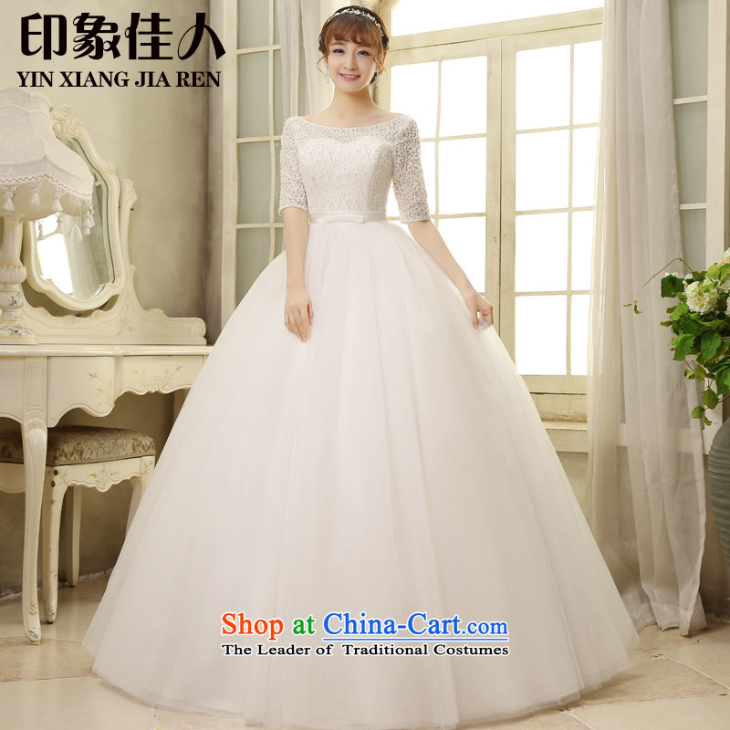 To align the bride, starring impression Wedding 2015 new) cuff gauze wiping the chest first field shoulder lace marriage shoulders dress H1810 XL