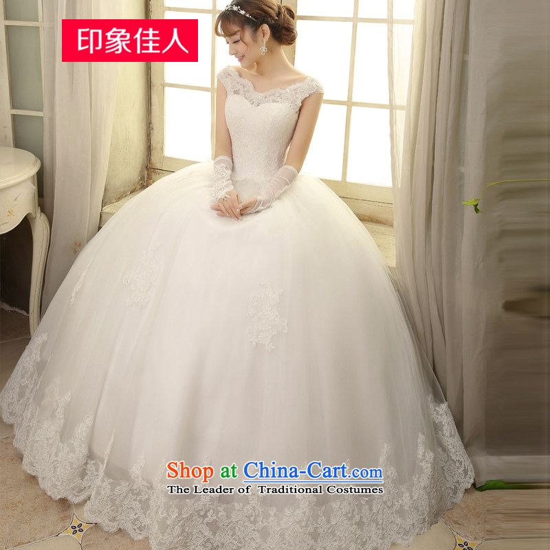 Starring impression wedding dresses 2015 Spring/Summer new continental gauze align to bind with retro bride video word thin shoulders lace wedding H1812 M