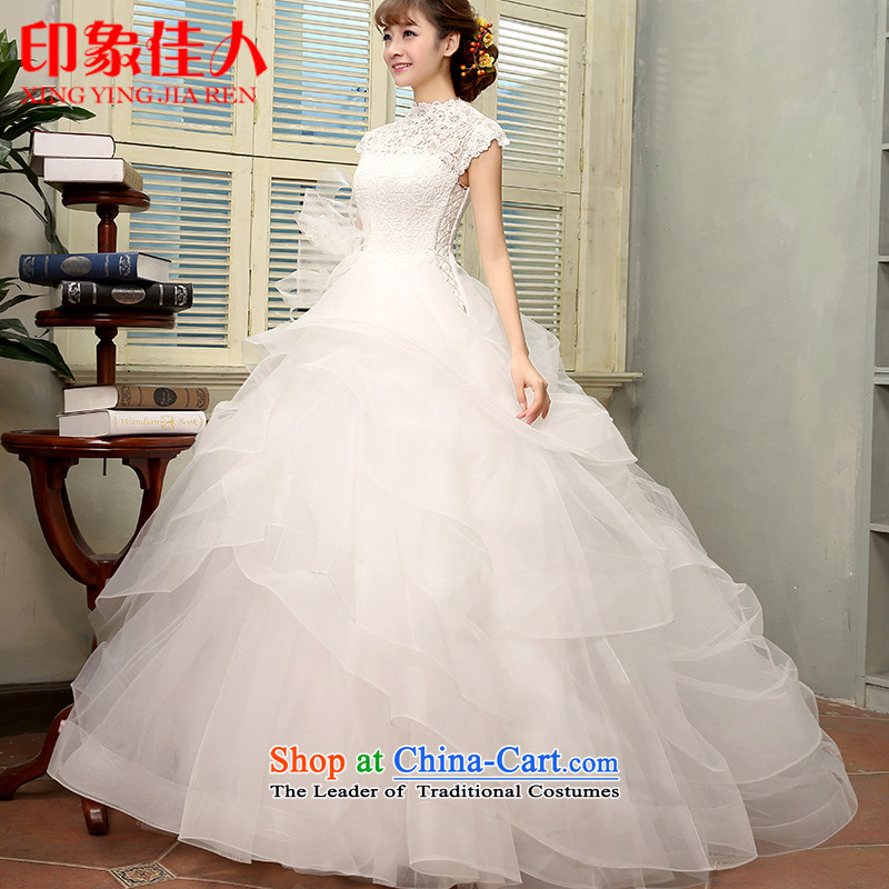 The new Word 2015 wedding dresses retro shoulder minimalist gauze bon bon skirt a shoulder the spring and summer of field bride wedding H2806 M
