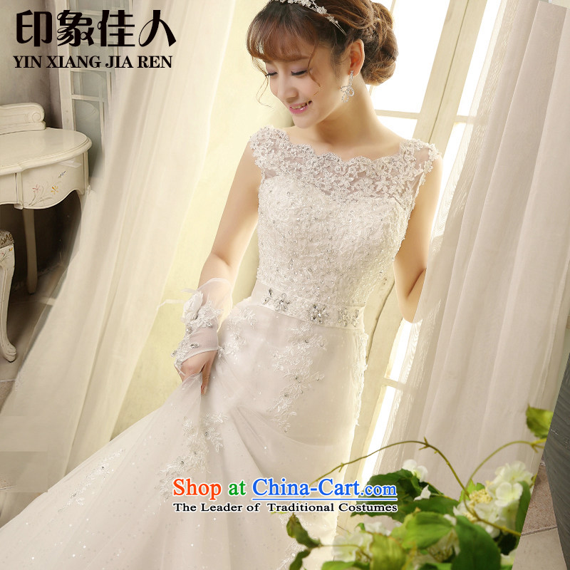 The bride wedding dresses 2015 Spring/Summer new lace small trailing wedding word shoulder straps retro Sau San video thin H2808 S