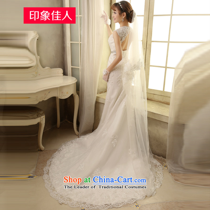 Starring impression wedding dresses 2015 Spring/Summer new word shoulder tail crowsfoot wedding summer Sau San, Japan and the Republic of Korea bride shoulders minimalist H2809 S