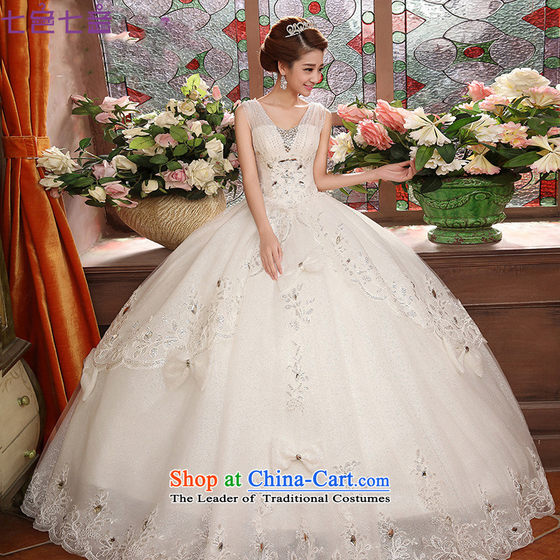 7 7 color tone聽, 2015 bride lace stylish Korean to align the shoulders of Sau San large white dress code wedding dresses聽H073聽White聽XL