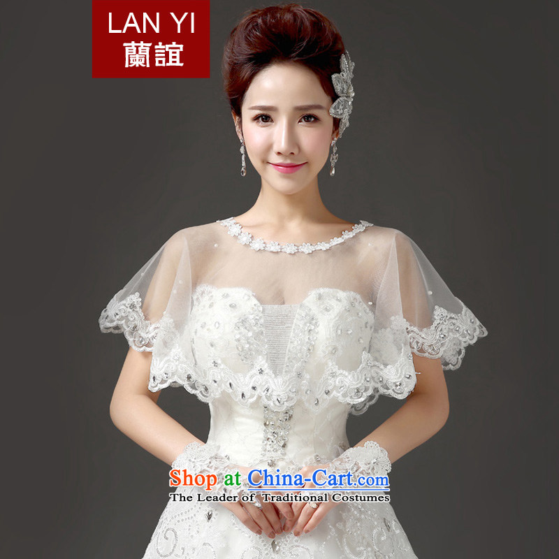 In?2015, the new bride friends lace water drilling shawl Korean video thin sunscreen wedding dresses accessories accessories marriages shawl white summer new products are code is better thin wearing thick