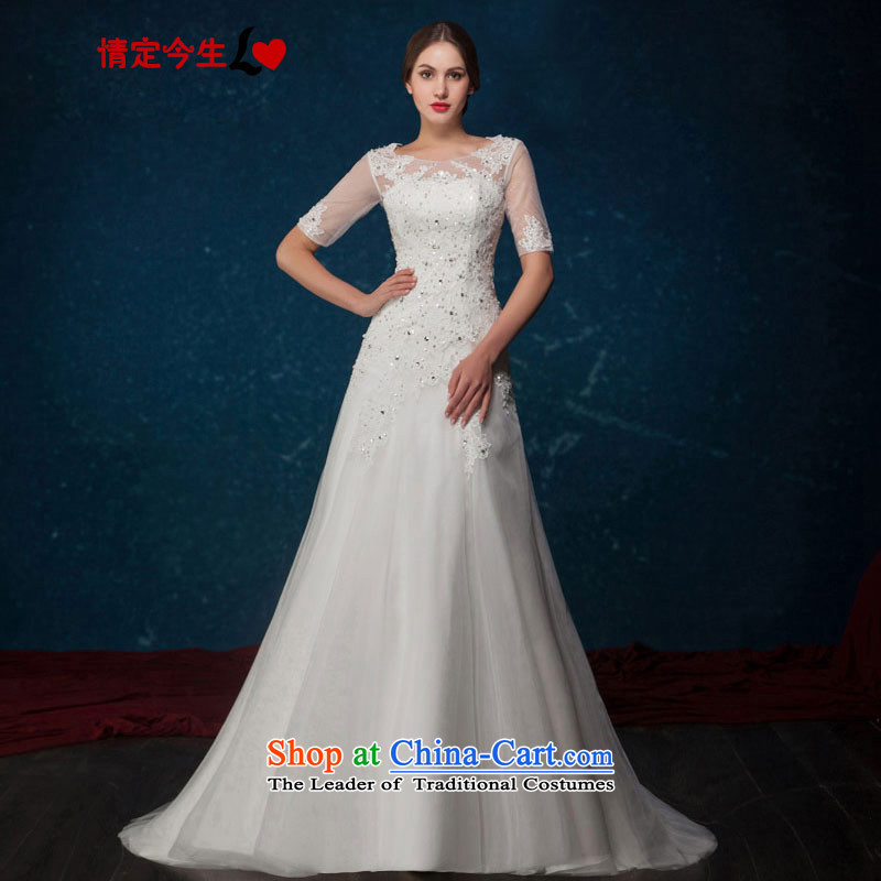 Love of the present continental 2015 Summer new word shoulder retro lace diamond sexy back tail wedding wedding dress white tailor-made exclusively concept