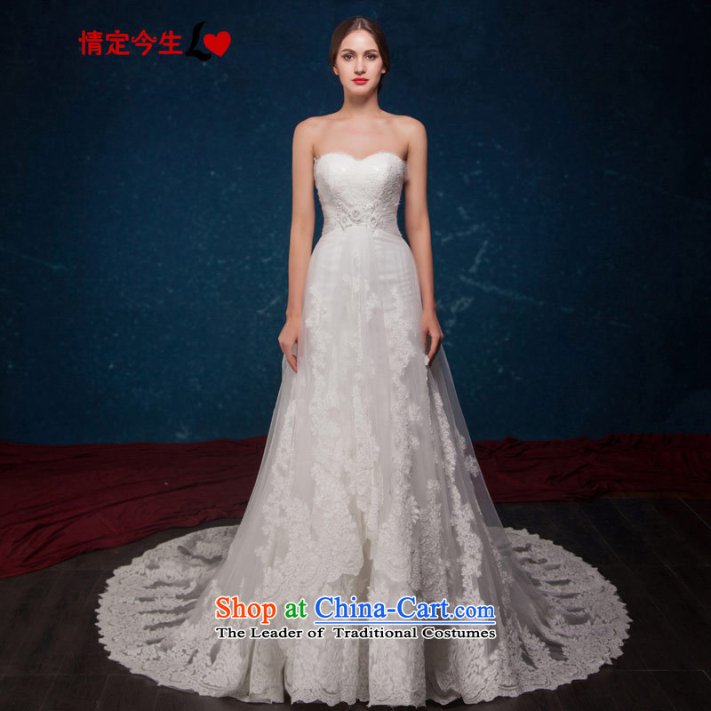 Love of the overcharged wedding dresses Summer 2015 NEW WESTERN PRINCESS lace petticoats sexy anointed chest tail wedding wedding dress white tailor-made exclusively concept