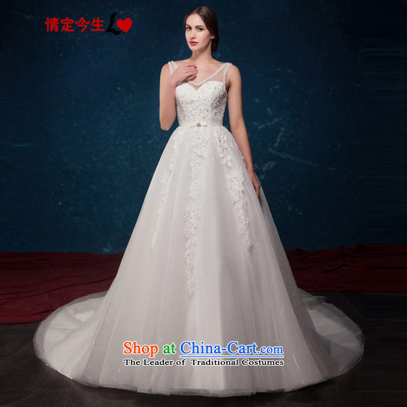 Love of the overcharged by 2015 Summer new minimalist white V-Neck Lace up large waist tail wedding wedding dress white tailor-made exclusively concept