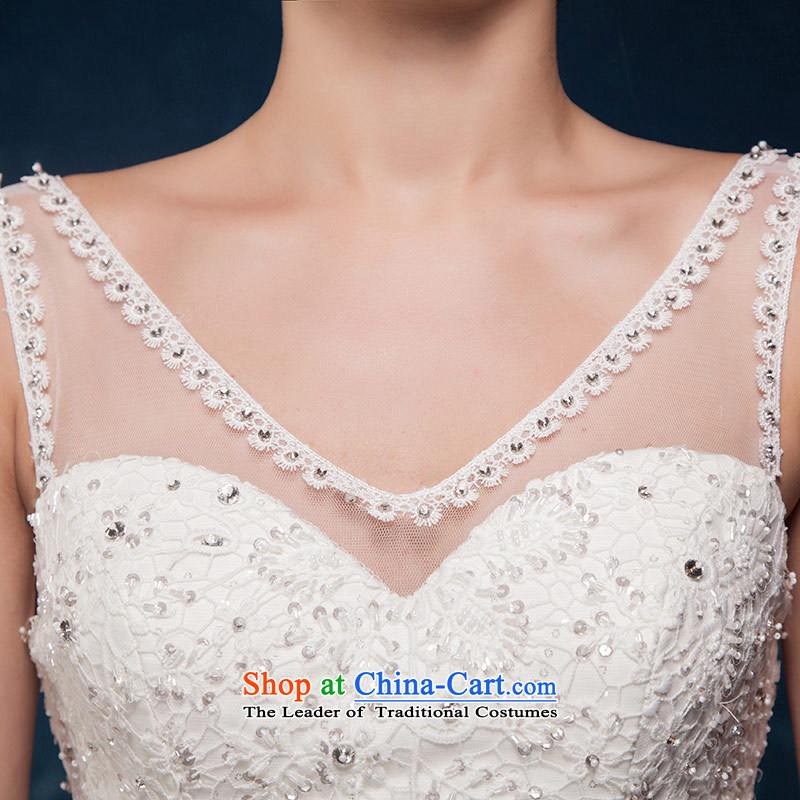 Love of the overcharged by 2015 Summer new minimalist white V-Neck Lace up large waist tail wedding wedding dress white tailor-made exclusively the concept of love of the overcharged shopping on the Internet has been pressed.