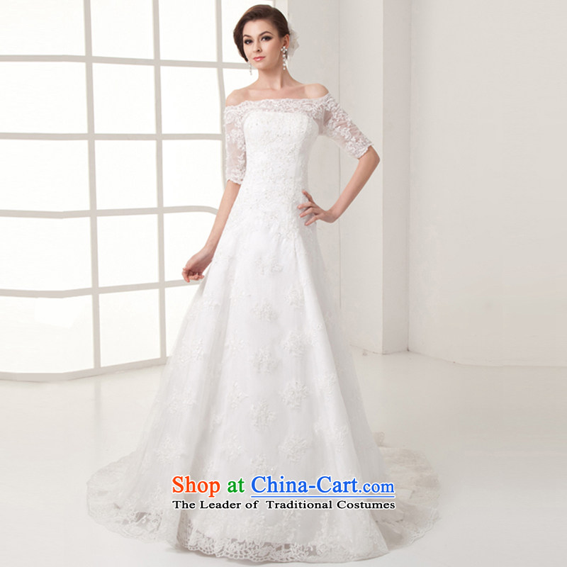 Yi is a sexy Love Field shoulder marriages wedding dresses Summer 2015 new lace crowsfoot A swing in the long tail luxury cuff video thin wedding female white can be made plus $30 Does Not Return