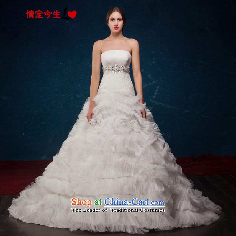 Love of the overcharged by 2015 new Western big bride romantic luxury feather large tail and chest diamond wedding wedding dress white聽XS