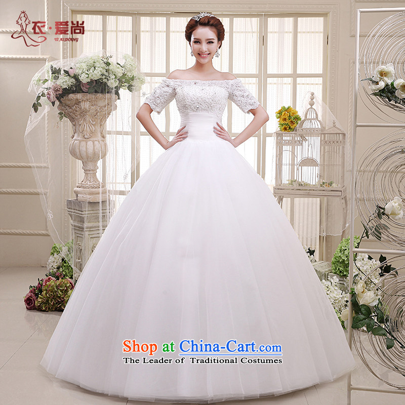 Wedding dress stylish new summer 2015, stylish Korean word to align the shoulder larger MM THIN straps, video wedding spring, summer, autumn and classic style White?XL